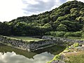 Mount Shizukiyama and moat from base of Tenshu of Hagi Castle 2.jpg