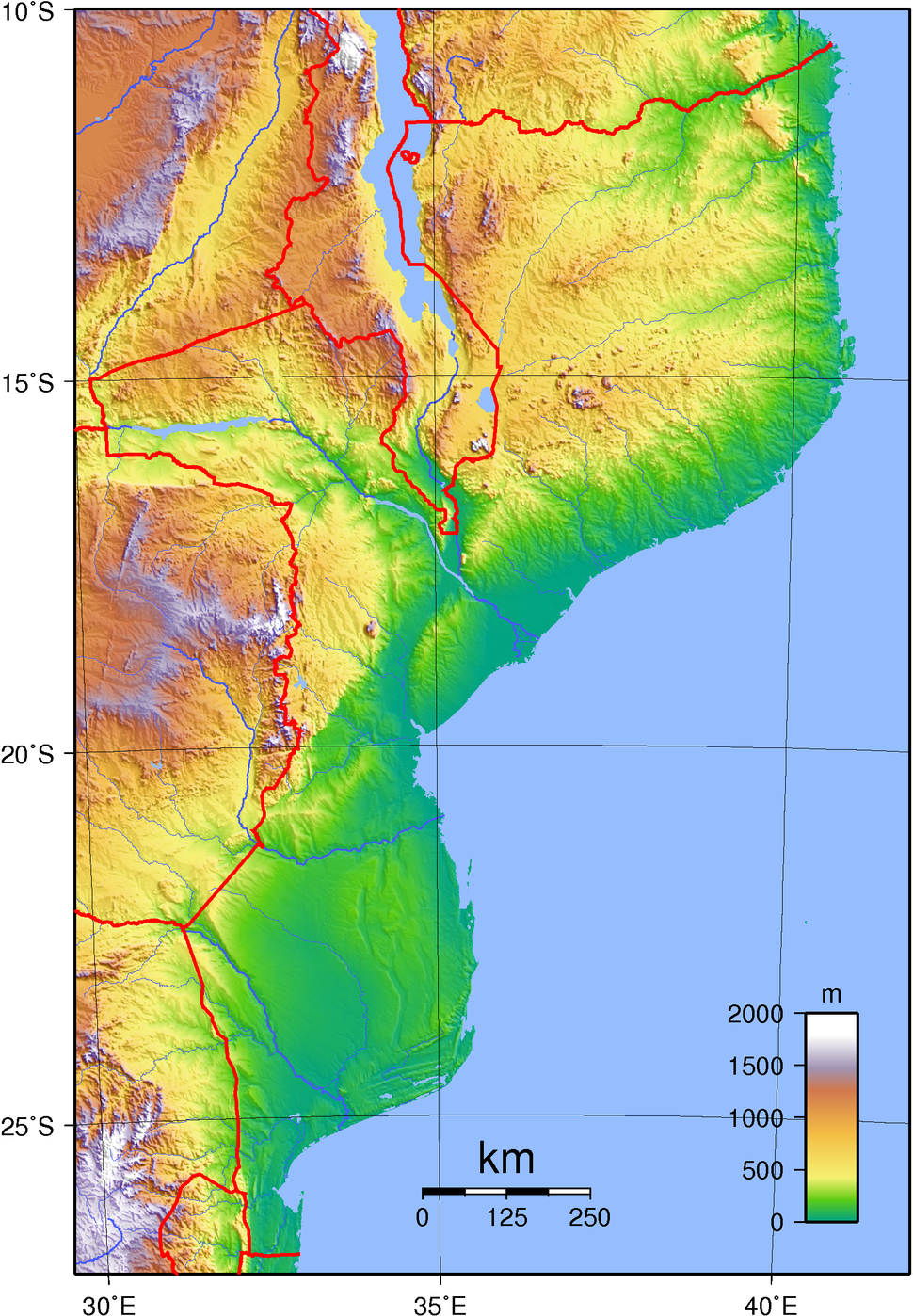 Mozambique Topography
