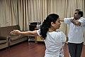 Mrs Manekar and Anil Shrikrishna Manekar - Trunk Movement - Loosening Practice - International Day of Yoga Celebration - NCSM - Kolkata 2015-06-21 7303.JPG