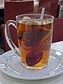 Mug of Earl Grey tea, Cafe Express, York Way, London, England 01.jpg