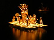 Muisca raft Legend of El Dorado Offerings of gold.jpg