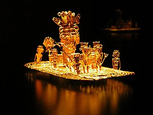 Indigenous peoples in Colombia - Image: Muisca raft Legend of El Dorado Offerings of gold