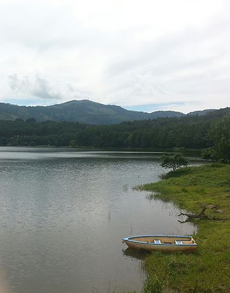Zomba Massif - Mulunguzi dam seen from the east, during rainy season