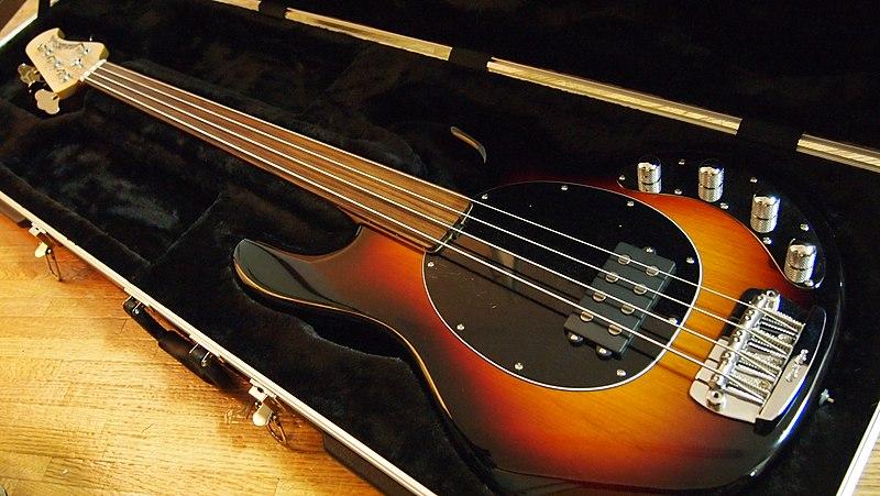 File:Music Man StingRay fretless bass in case angled.jpg