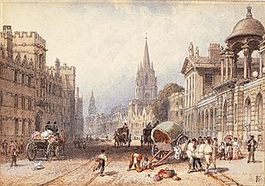 History of Oxford - 19th-century view of the High Street in Oxford.
