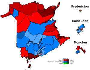 Politics of New Brunswick - Current provincial electoral map