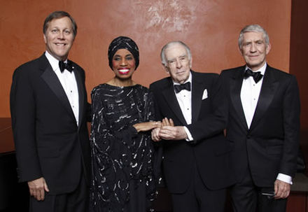 From left to right, NEA Chairman Dana Gioia honors the first class of National Endowment for the Arts Opera Honorees in 2008: Price, Carlisle Floyd, Richard Gaddes. NEA Opera Honorees.jpg