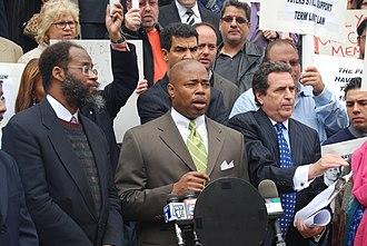 Eric Adams (politician) - Eric Adams speaking at City Hall in New York City, October 5, 2008.