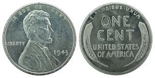 1943 steel cent U.S. currency
