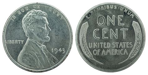 Nnc Us 1943 1c Lincoln Cent Wheat Zinc Coated
