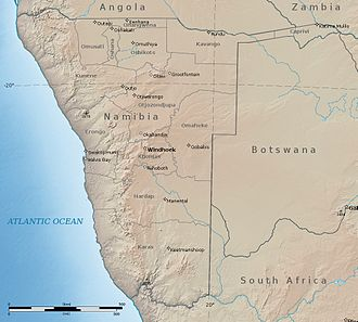 Namibia - Shaded relief map of Namibia