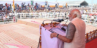 Bharatiya Janata Party campaign for the 2014 Indian general election - Narendra Modi addressing a Bharat Vijay Rally in Kurukshetra in Haryana