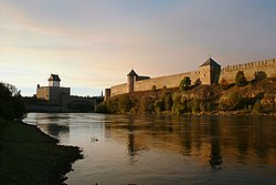 The reconstructed fortress of Narva (to the left) overlooking the Russian fortress of Ivangorod (to the right)