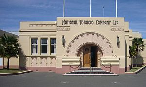 Smoking in New Zealand - The National Tobacco Company Ltd building in Napier, New Zealand.