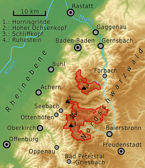 Map showing the location of Black Forest National Park