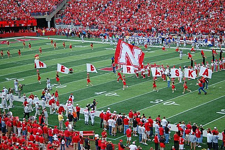 Football game at the University of Nebraska on September 6, 2008. NebraskaCornhuskers-Flags-9-6-08.jpg