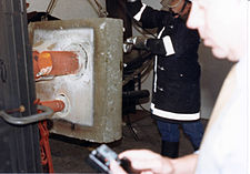 Heat exposure as part of a fire test for firestop products.