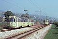 Neuchatel ex-Genova trams passing at Auvernier, 1970s.jpg