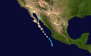 Hurricane Newton (2016) - Image: Newton 2016 track