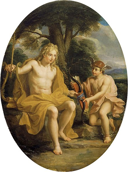 The friendship of Apollo and Hermes, by Noel Coypel Noel Coypel - Story of Apollo-Apollo and Mercury, 1688.jpg