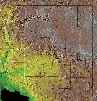 Parker Valley - Image: Noaa topo az