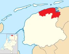 Noardeast-Fryslân location map municipality NL 2019.png
