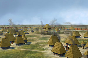 Mound Builders - Illustration of the Nodena Site, possibly the Province of Pacaha encountered by de Soto
