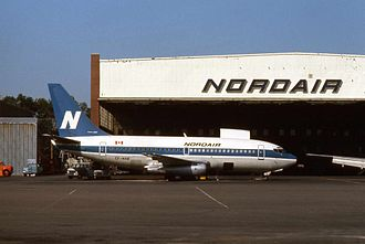 Nordair - Nordair Boeing 737-200 at the airline's base in Montreal.