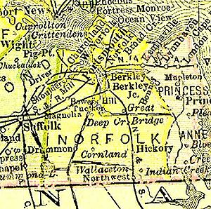 History of Chesapeake, Virginia - Norfolk County, Virginia (from 1895 map), existed from 1691-1963, now extinct