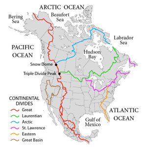 Pigeon River (Minnesota–Ontario) - Continental divides in North America. The Laurentian Divide is in green.