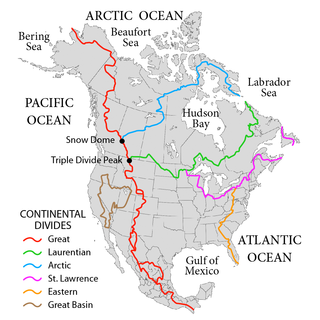 Hydrological divide in North America