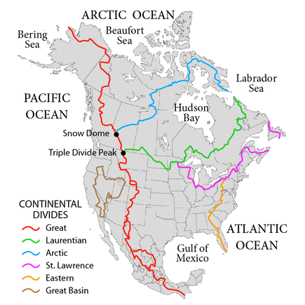 The Continental Divide in North America in red, among other major hydrological divides. NorthAmerica-WaterDivides.png
