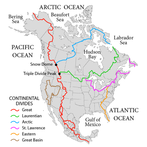 Principal hydrological divides of North America.