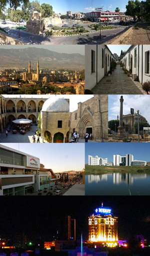 North Nicosia - From top to bottom, left to right: The Kyrenia Gate and the İnönü Square, Selimiye Mosque (former St. Sophia Cathedral), historical Samanbahçe neighborhood, the Büyük Han, Bedesten, Sarayönü and the Venetian Column, the entertainment center of Dereboyu, the Near East Medical School, part of North Nicosia skyline at night