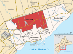Location of North York (red) compared to the rest of Toronto.