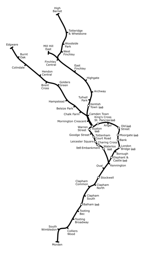 Geographically accurate map of the Northern Line