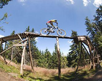 Mountain biking in British Columbia - A Northshore-style ramp in Bischofsmais, Bavaria.