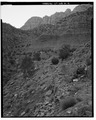 OVERALL VIEW OF QUARRY; VIEW TO NORTHWEST - Zion National Park, Stone Quarry, Springdale, Washington County, UT HABS UTAH,27-SPDA.V,7K-2.tif