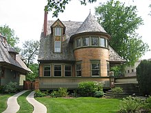 The Walter Gale House (1893) is Queen Anne in style yet features