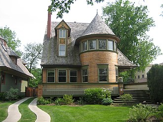Frank Lloyd Wright - The Walter Gale House (1893) is Queen Anne in style yet features window bands and a cantilevered porch roof which hint at Wright's developing aesthetics