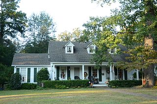 Oakland Farm historic farmhouse at the northern end of Oakland Street in Camden, Arkansas
