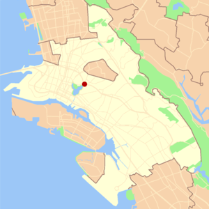 Grand Lake, Oakland, California - Image: Oakland grand lake locator map