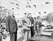 Official launch of the Snowy Mountains Hydro project at Adaminaby in 1949