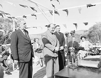 Snowy Mountains Scheme - Official launch of the Snowy Mountains Scheme at Adaminaby. From the left, Prime Minister, Ben Chifley; Governor-General, William McKell and Minister for Works and Housing, Nelson Lemmon, 1949.
