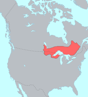 Carte de répartition de l'ojibwé