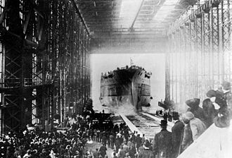 USS Oklahoma (BB-37) - Launch of Oklahoma on 23 March 1914