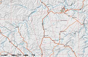 Old Mines, Missouri - Modern map of the area around the Old Mines concession.  Thin red lines show the regular grid of townships interrupted by colonial land grants and concessions, including the Old Mines concession in the center.