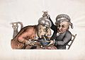 One man vomits into a bowl as his companion lifts his wig an Wellcome V0019470.jpg