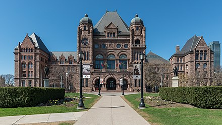 The Ontario Legislative Building at Queen's Park. The building serves as the meeting place for the Legislative Assembly of Ontario. Ontario Legislative Building, Toronto, South view 20170417 1.jpg