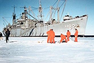 Operation Deep Freeze - USS Wyandot mooring at McMurdo Station (Dec 1955)